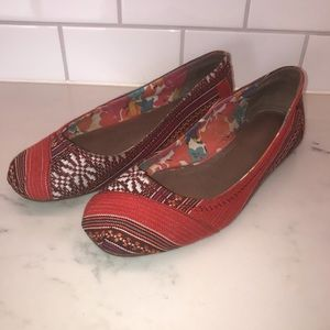 TOMS Canvas Patchwork Flats in Red